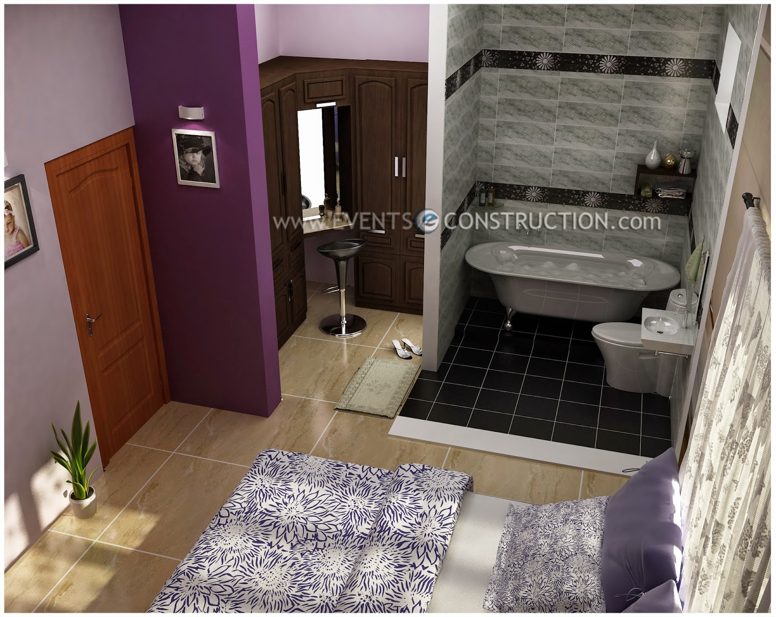 Evens construction pvt ltd dressing area bedroom and for Bathroom designs with dressing area