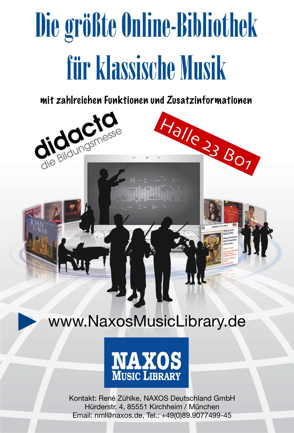 Mit der Music, Jazz, Spoken Word und Video Library hat NAXOS gleich 4  Webportale aufgebaut, die sich ideal für den Einsatz in ...