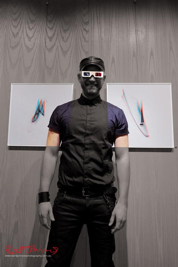Artist portrait, Simonology at his art opening Black Eye Gallery Darlinghurst. Photo by Kent Johnson.