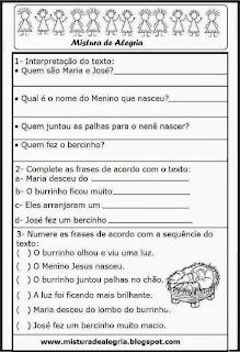 Avaliação de português tema natal