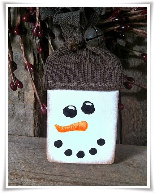 Primitive Snowman Wooden Ornie