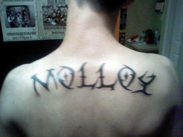Tribal letter tattoos for Last name tattoos on back
