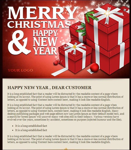 Happy New Year  Email Template Business Greetings