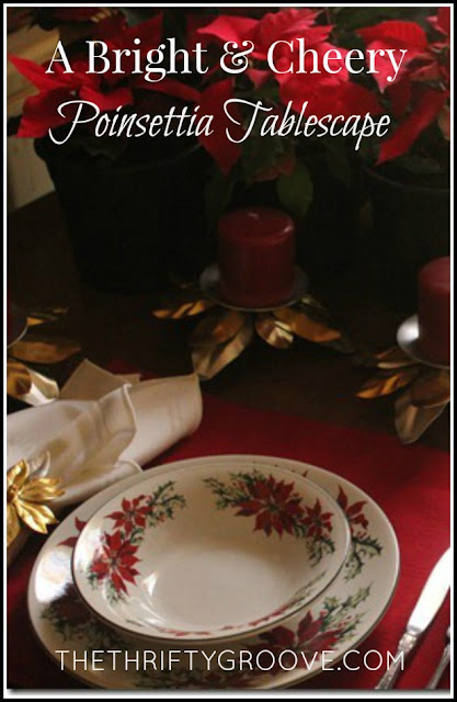 A bright and cheery Christmas poinsettia tablescape. Very easy, thrifty but, so pretty!