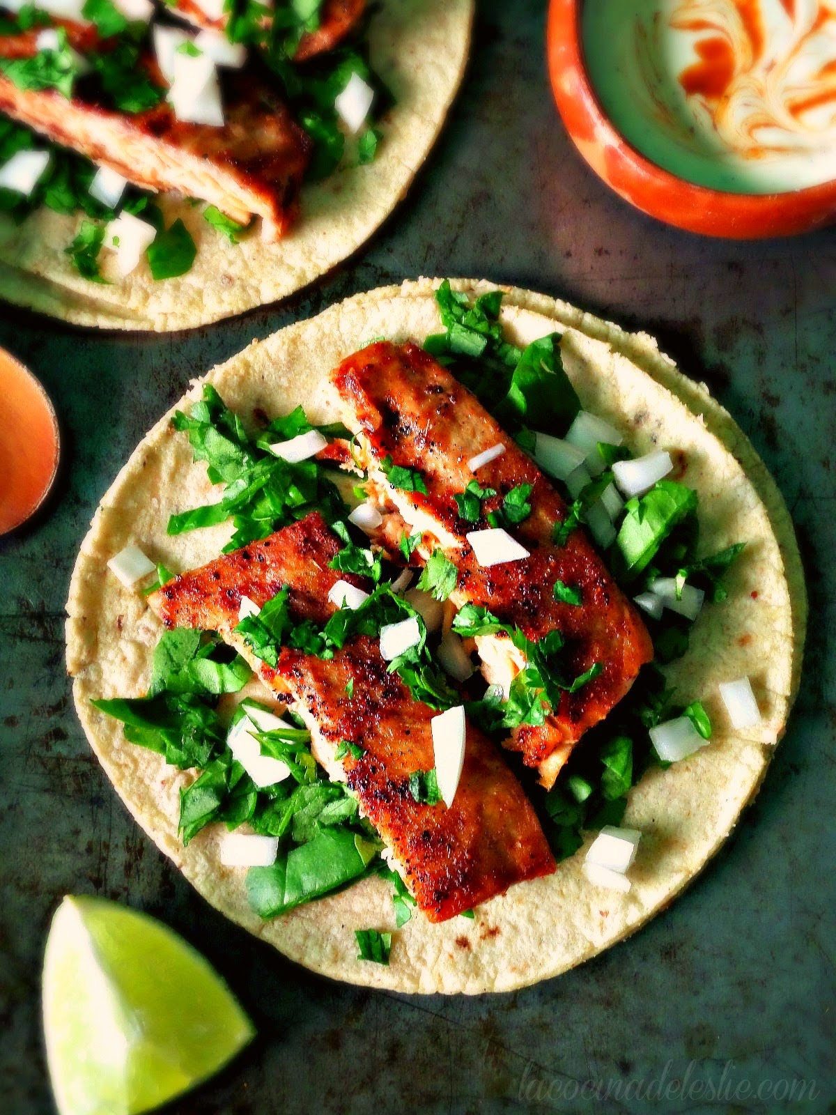 Most Popular: Spicy Salmon & Spinach Tacos from La Cocina de Leslie #recipe #SecretRecipeClub