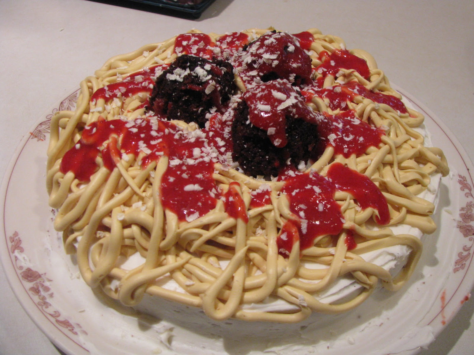 What's For Dinner?: April Fool's Edition: Spaghetti and Meatballs Cake