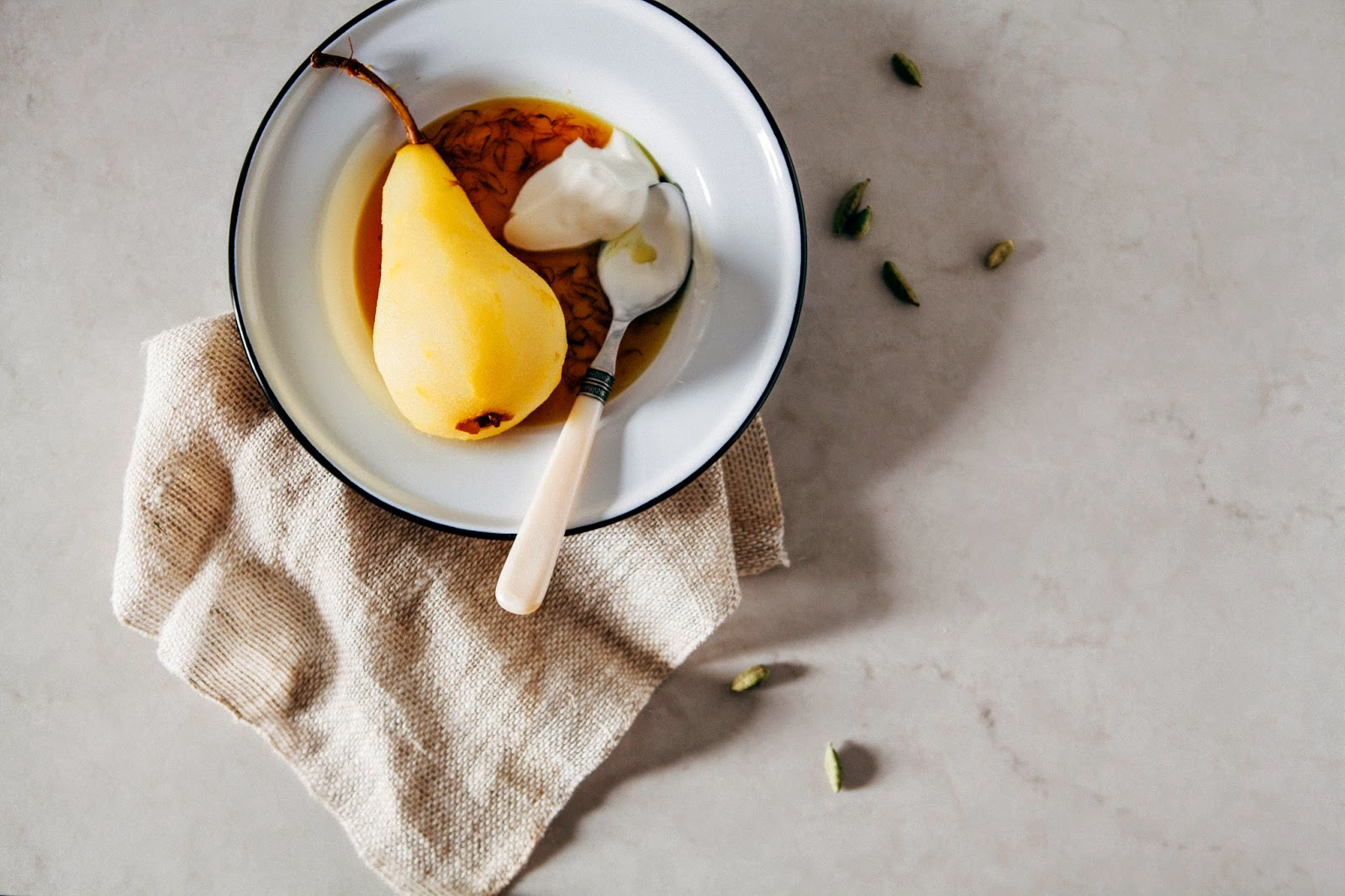 Saffron and Cardamom Poached Pears | hummingbird high || a desserts ...