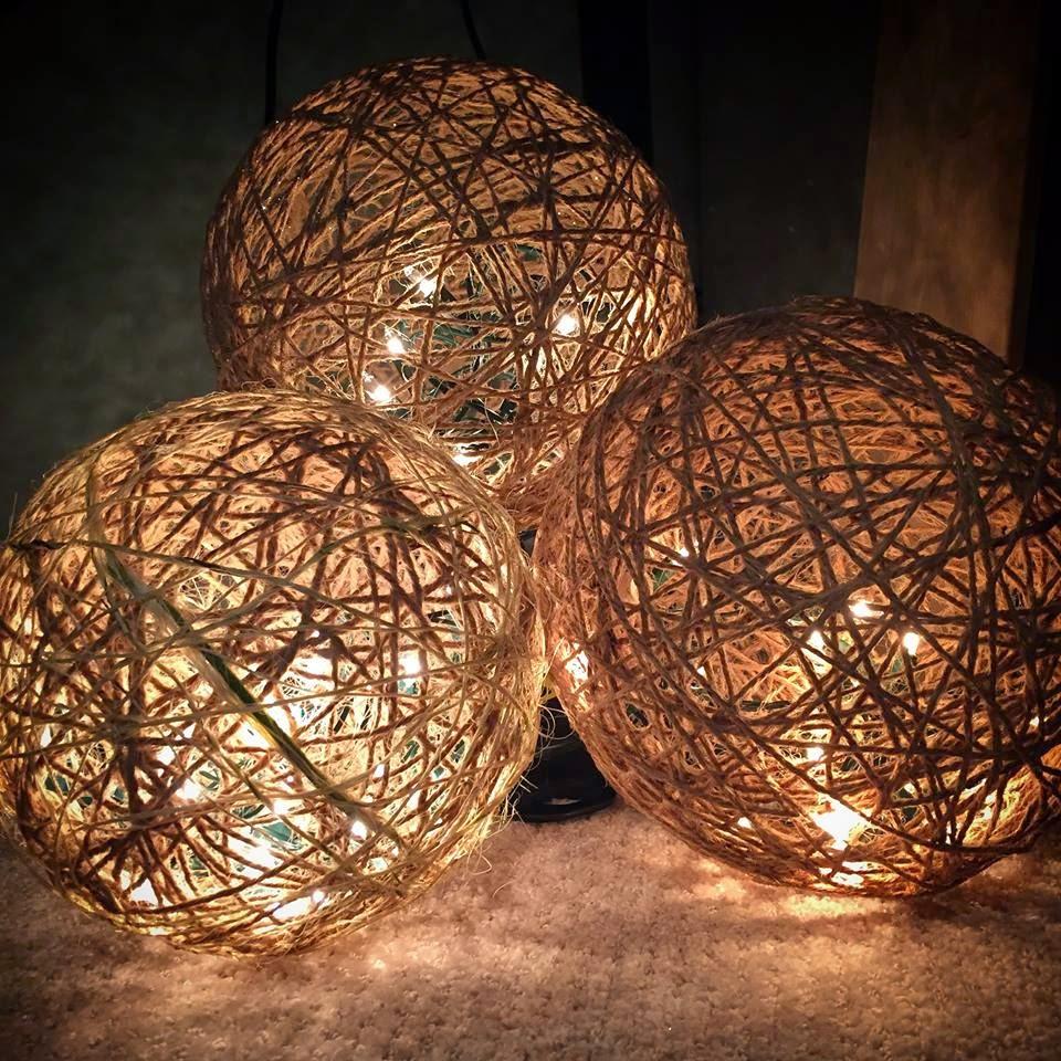 Muchocrafts twine spheres diy for Diy lights ideas
