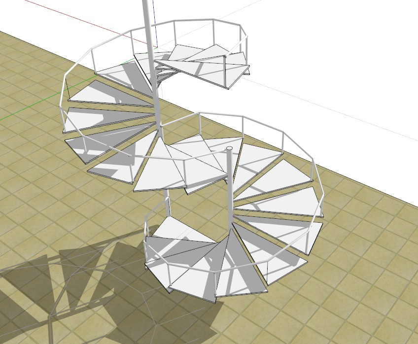 how to make spiral stairs in sketchup