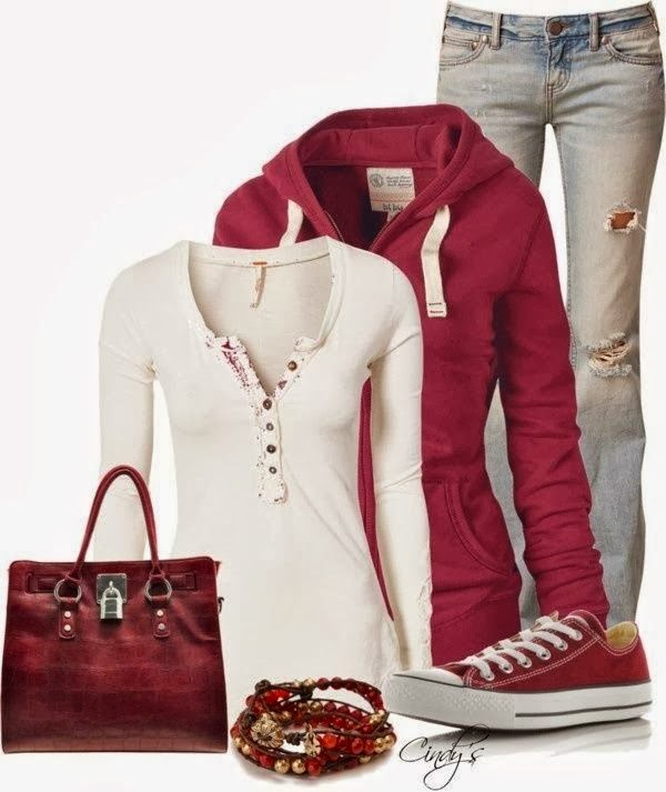 Ripped jeans, red stylish cardigan, white blouse, handbag and sneakers