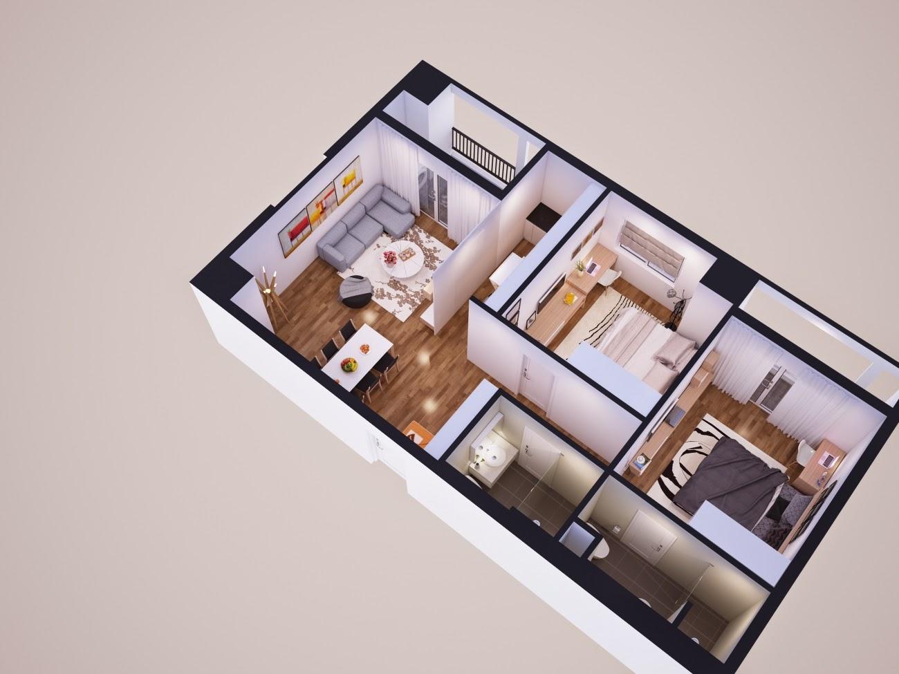 Các căn hộ tại Park View Residence có diện tích từ 57 m2 - 112m2 với 2 - 3 phòng ngủ được bố trí hợp lý, tạo không gian chung rộng thoáng và đảm bảo đối lưu không khí hoàn hảo.