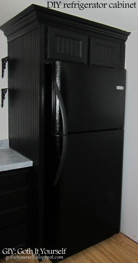GIY: Goth It Yourself: Kitchen Makeover: DIY Refrigerator Cabinet