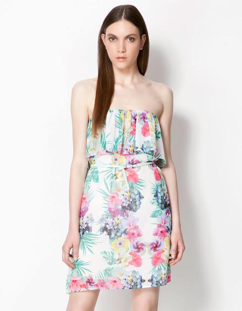 straplez çiçek desenli kısa elbise, yazlık elbise
