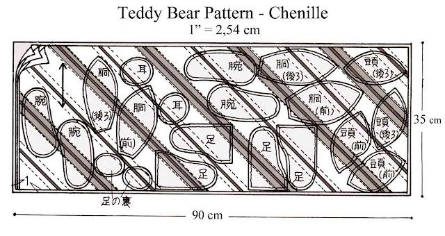 ursinho de tecido com molde - patchwork