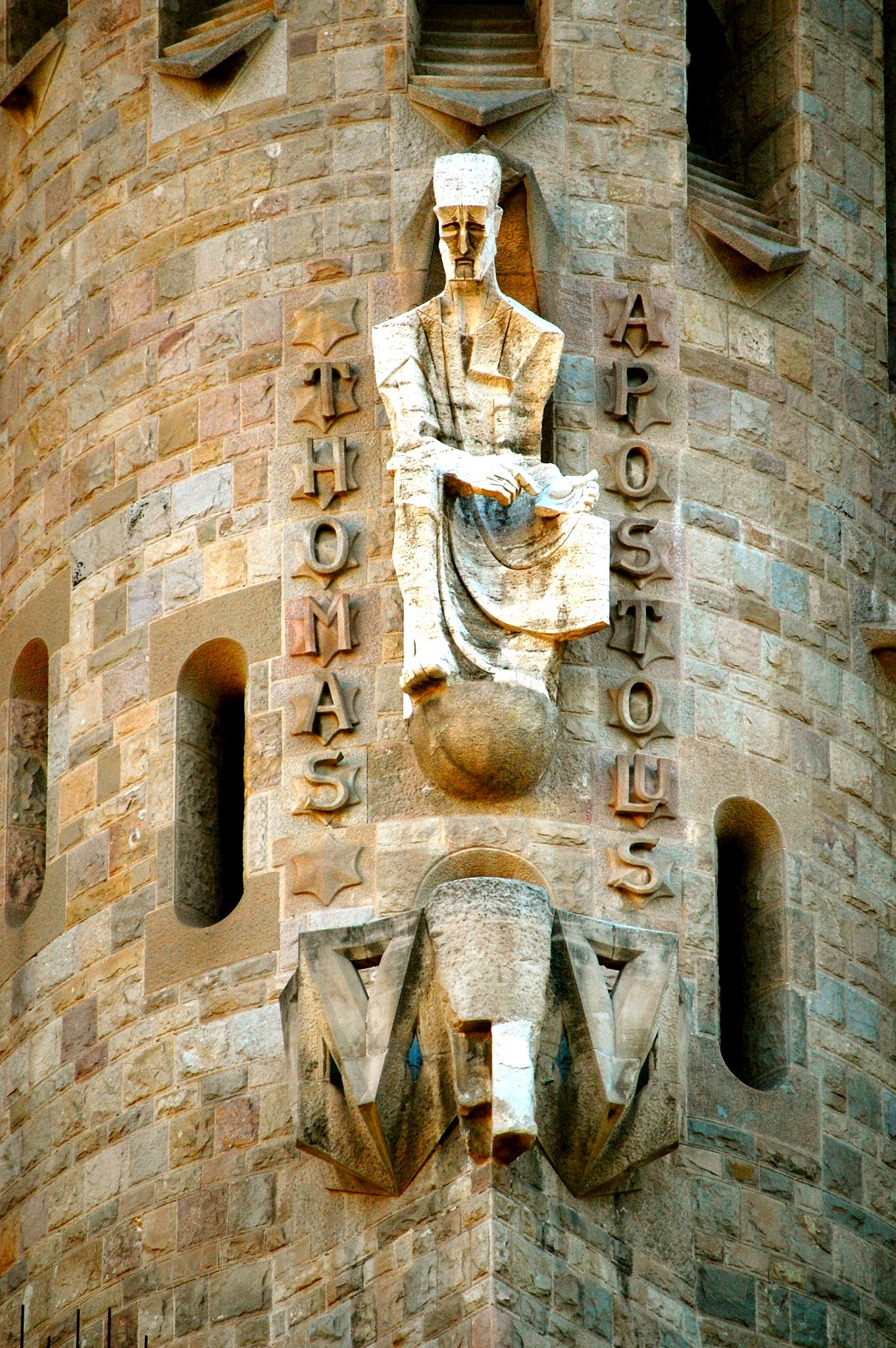 Carving of Doubting Thomas on the Passion Facade, Sagrada Família
