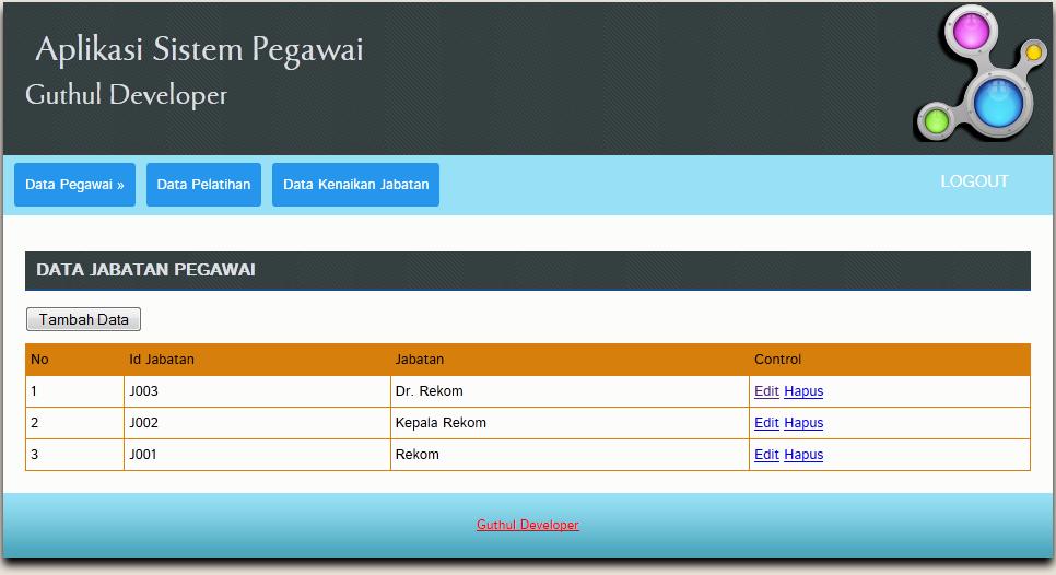 data jabatan pegawai - Aplikasi Pegawai Berbasis Web