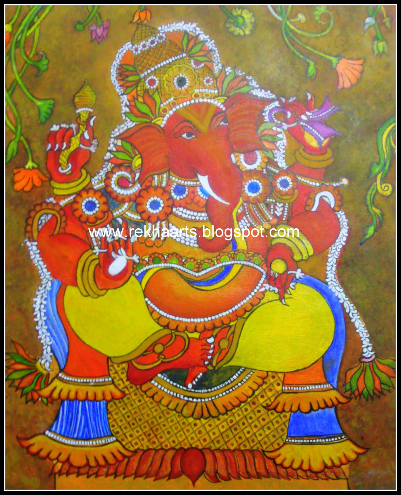 Varnaalaya ganesha mural painting kerala mural style for Mural ganesha