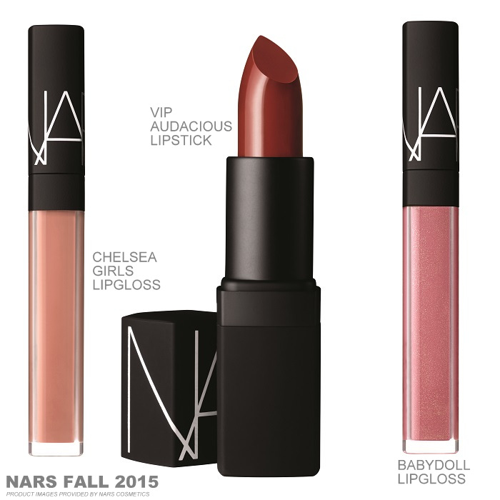 NARS Private Screening Fall 2015 Makeup Collection Swatches Chelsea Girls Babydoll Lipgloss VIP Audacious Lipstick