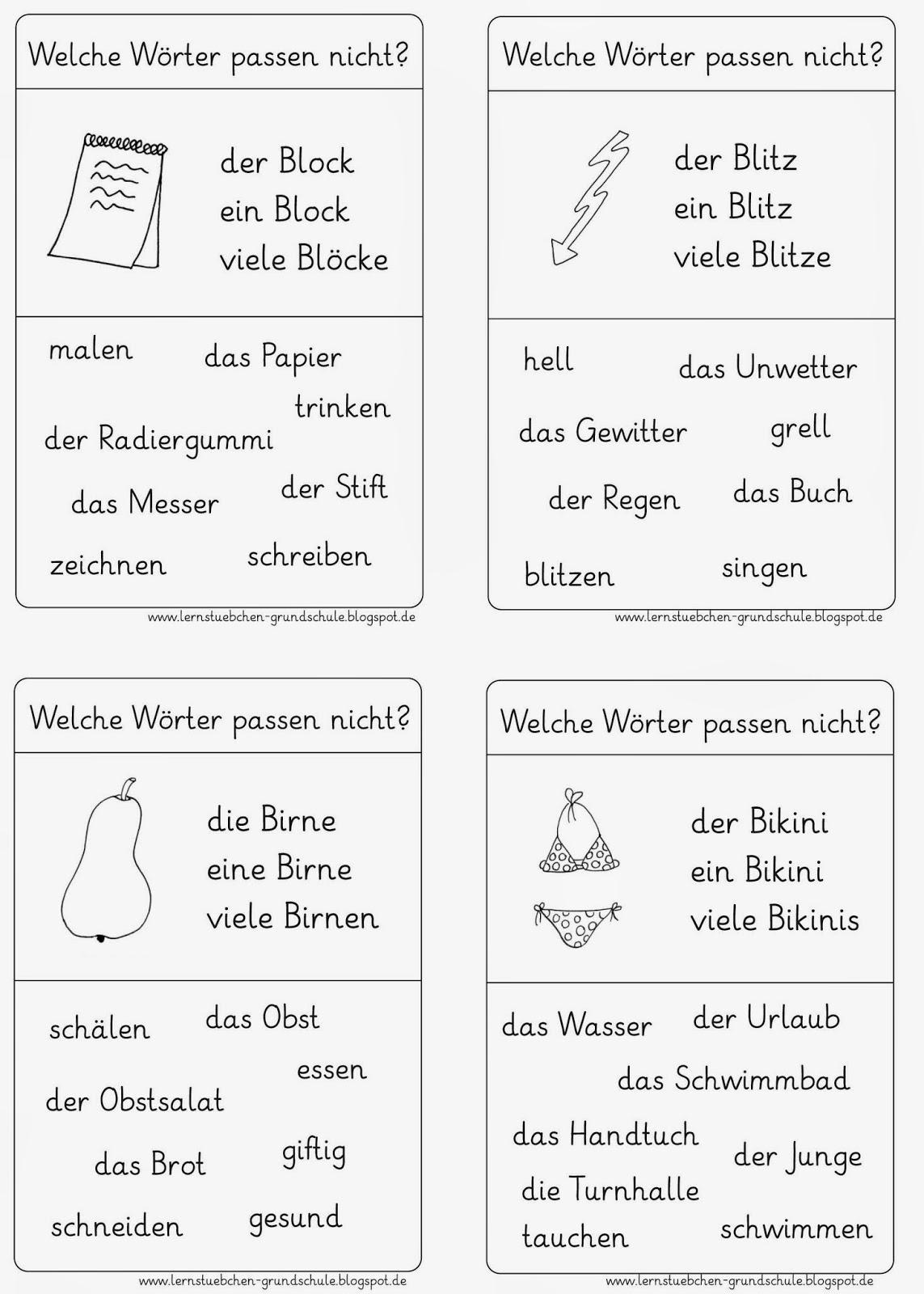 Lernstübchen: Leseübung rund um B-Wörter
