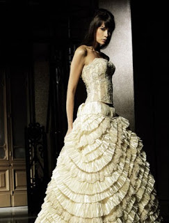 ruffled wedding dress
