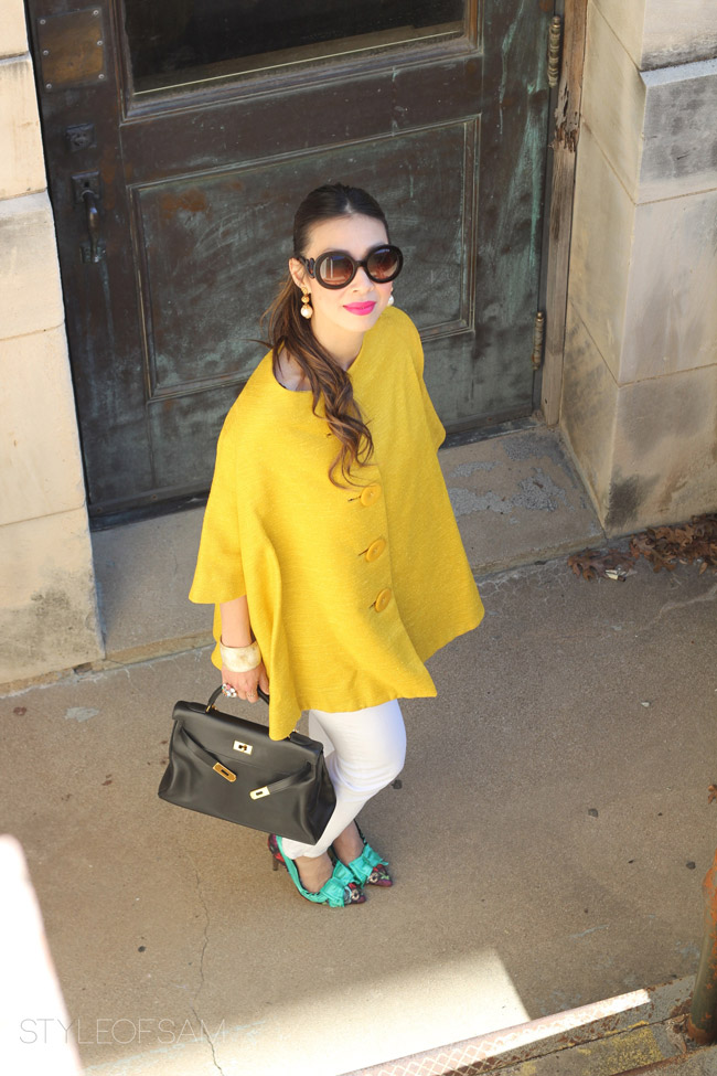 vintage yellow swing jacket, prada baroque sunglasses, joe's jenny jeans, lanvin for H&M floral bow heels, hermes kelly bag, jcrew grand stone bracelet, pearl drop earring, tom ford aphrodisiac lipstick