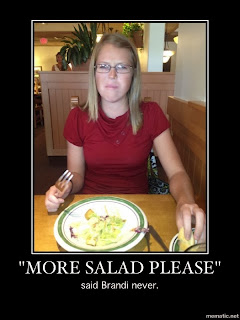 a meatatarian trying to eat a veggie salad at olive garden