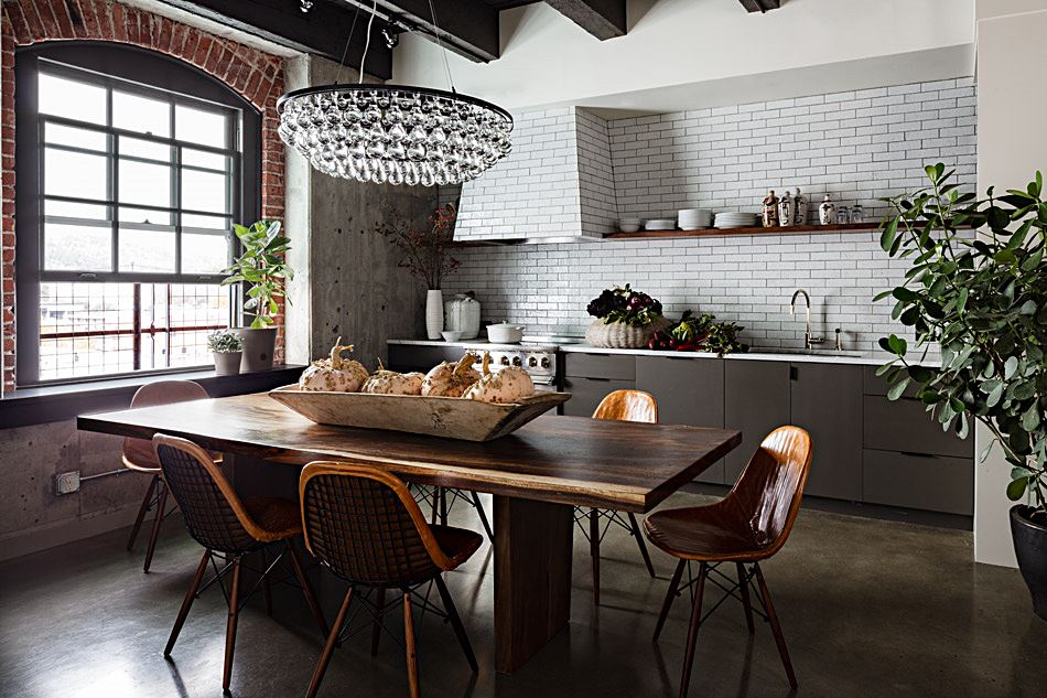 Old Warehouse Loft Interior Design Dining Room