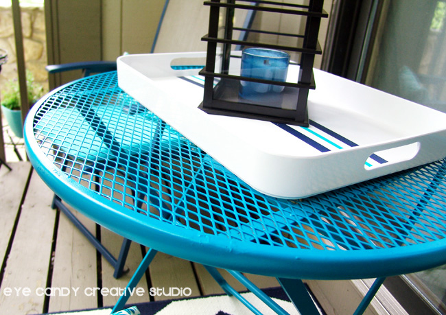 aqua patio table, small space outdoor makeover, tray, candle lantern