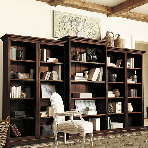 Ballard Designs' traditional Tuscan Bookcase Set is another option – it can  be arranged with a deeper, larger center piece such as this: - Bookcases For A Home Office: Traditional White Vs. Industrial