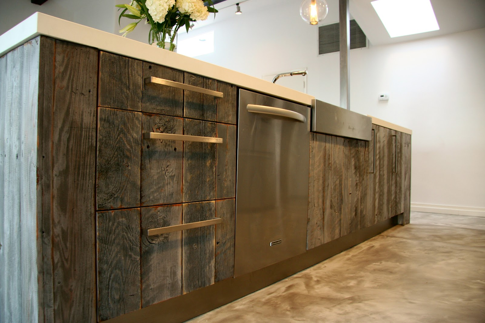 Semihandmade reclaimed lumber kitchen for Barnwood kitchen cabinets