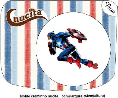 Etiquetas Nucita para imprimir gratis de Capitán América.