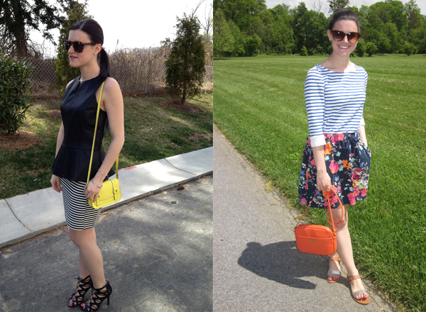 black peplum top, striped top, striped skirt, floral skirt, neon