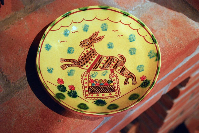 redware plate with Easter bunny