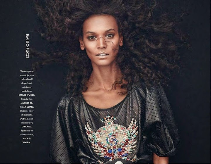 Liya Kibede for Elle France March 2014, Emilio Pucci