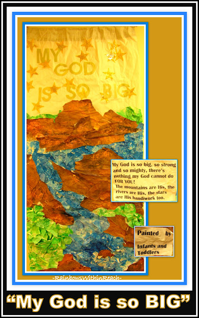 "photo of: Bulletin Board from Toddlers: ""My God is So BIG!"" Torn paintings create Mural"