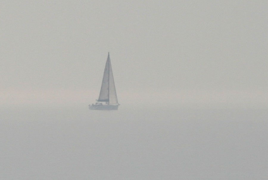 yacht in the mist