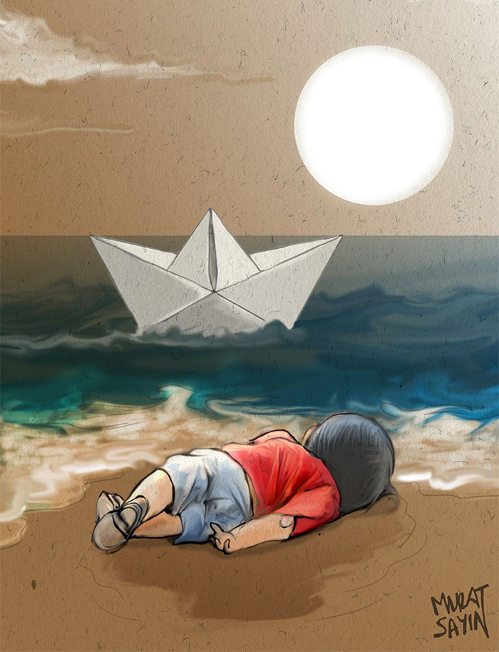 Artists Around The World Respond To Tragic Death Of 3-Year-Old Syrian Refugee - Humanity Washed Ashore