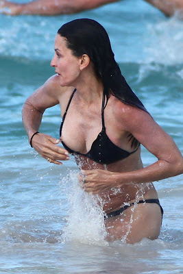 Courtney Cox Nipple Slip In St. Barts While Frolicking In The Caribbean Waves