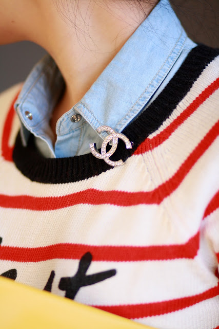 simplyxclassic red and white stripe sweater cest la vie