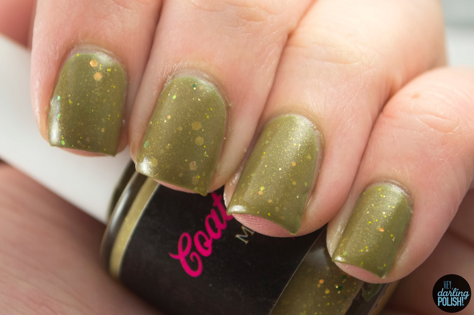 nails, nail polish, polish, indie, indie polish, coated in polish, army green, green, going to war, gold, hey darling polish