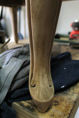 footstool - stripped wood  leg detail