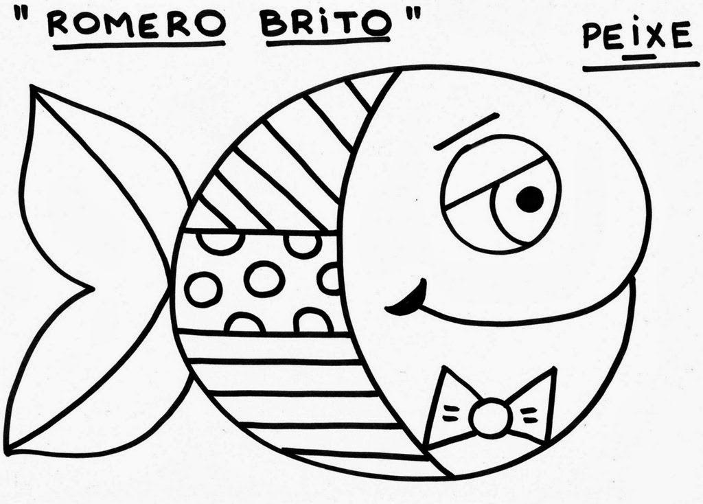 Romero Britto para colorir - Peixe 2