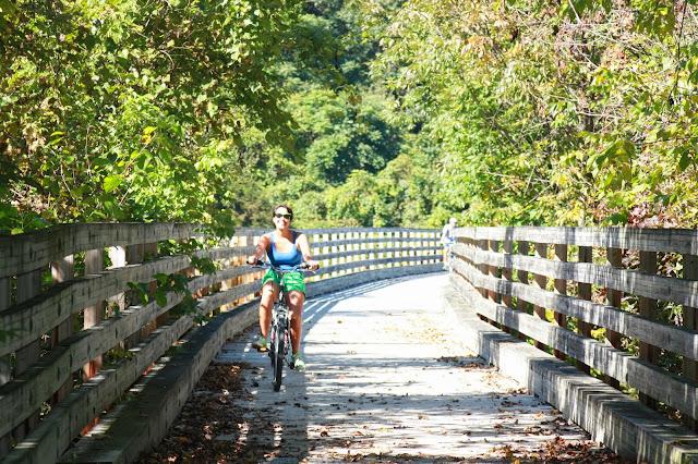 Kristina riding bike in sunshine