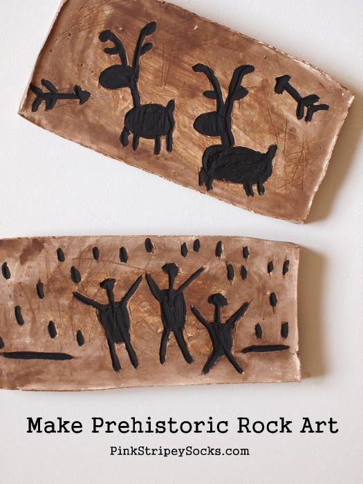Make a prehistoric rock art with kids
