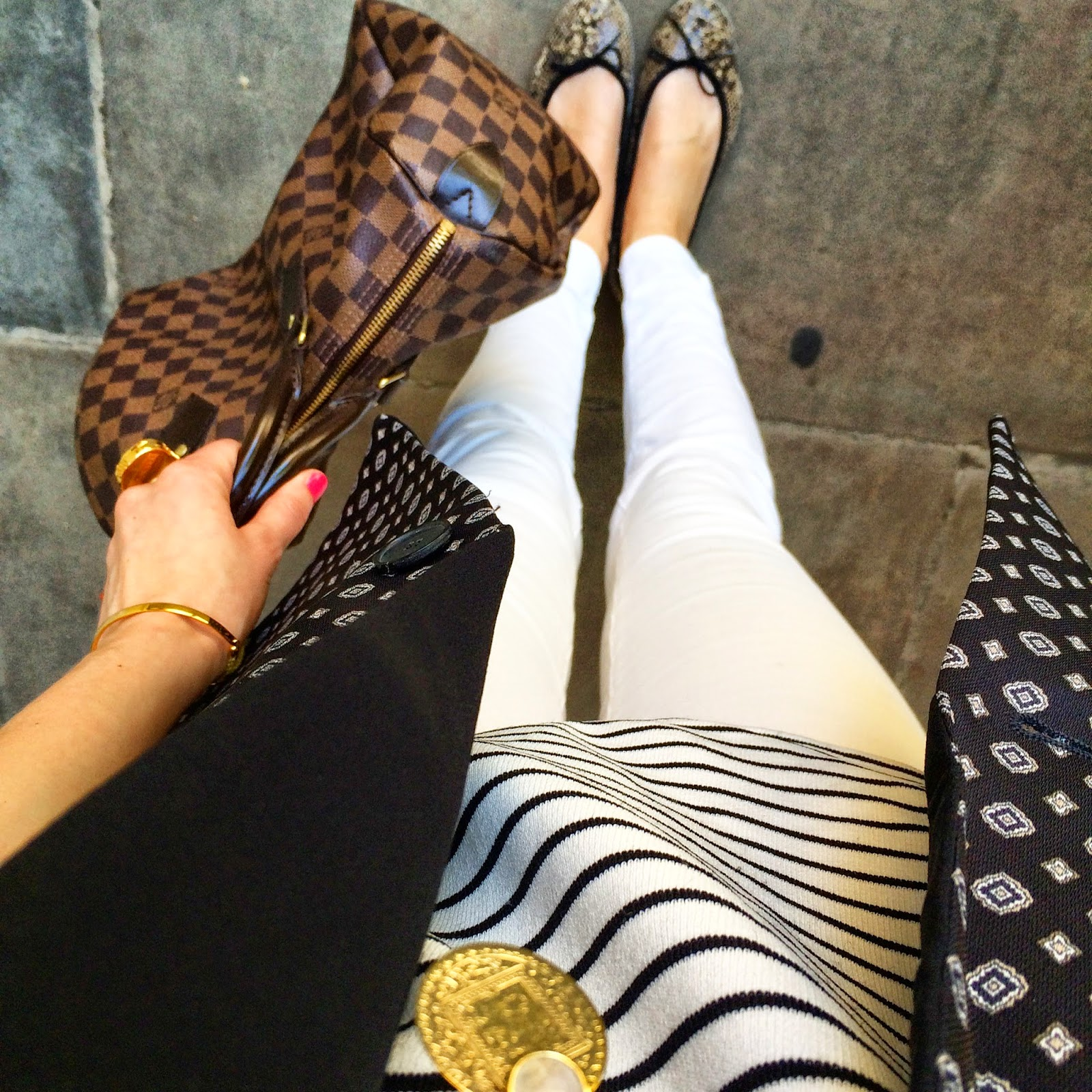 monica vinader, stripes, print mix, mango blazer, louis vuitton, j brand jeans, white jeans, french sole, ballet flats