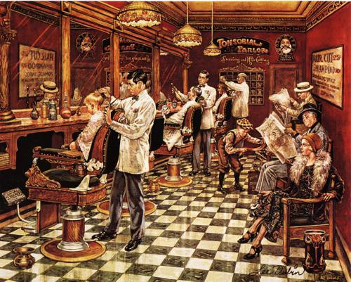 Una tela sobre el bosque cilindros de barbero o la nostalgia - La barberia de vigo ...