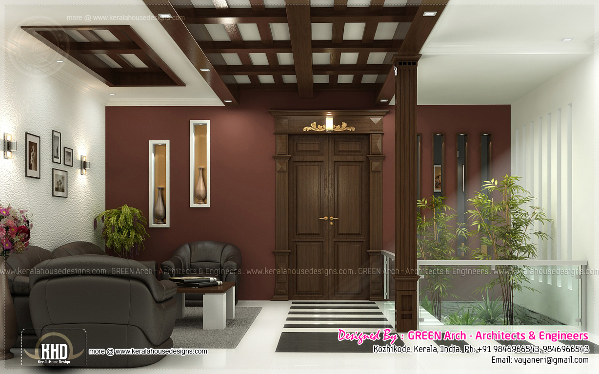 Beautiful home interior designs by green arch kerala for Interior design house outside