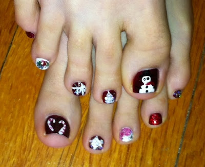 candy cane, nail art, toes, Christmas, holly, gift, present