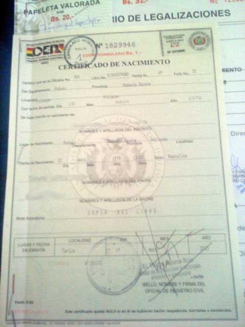 Trámite de legalización de certificado de nacimiento para el exterior