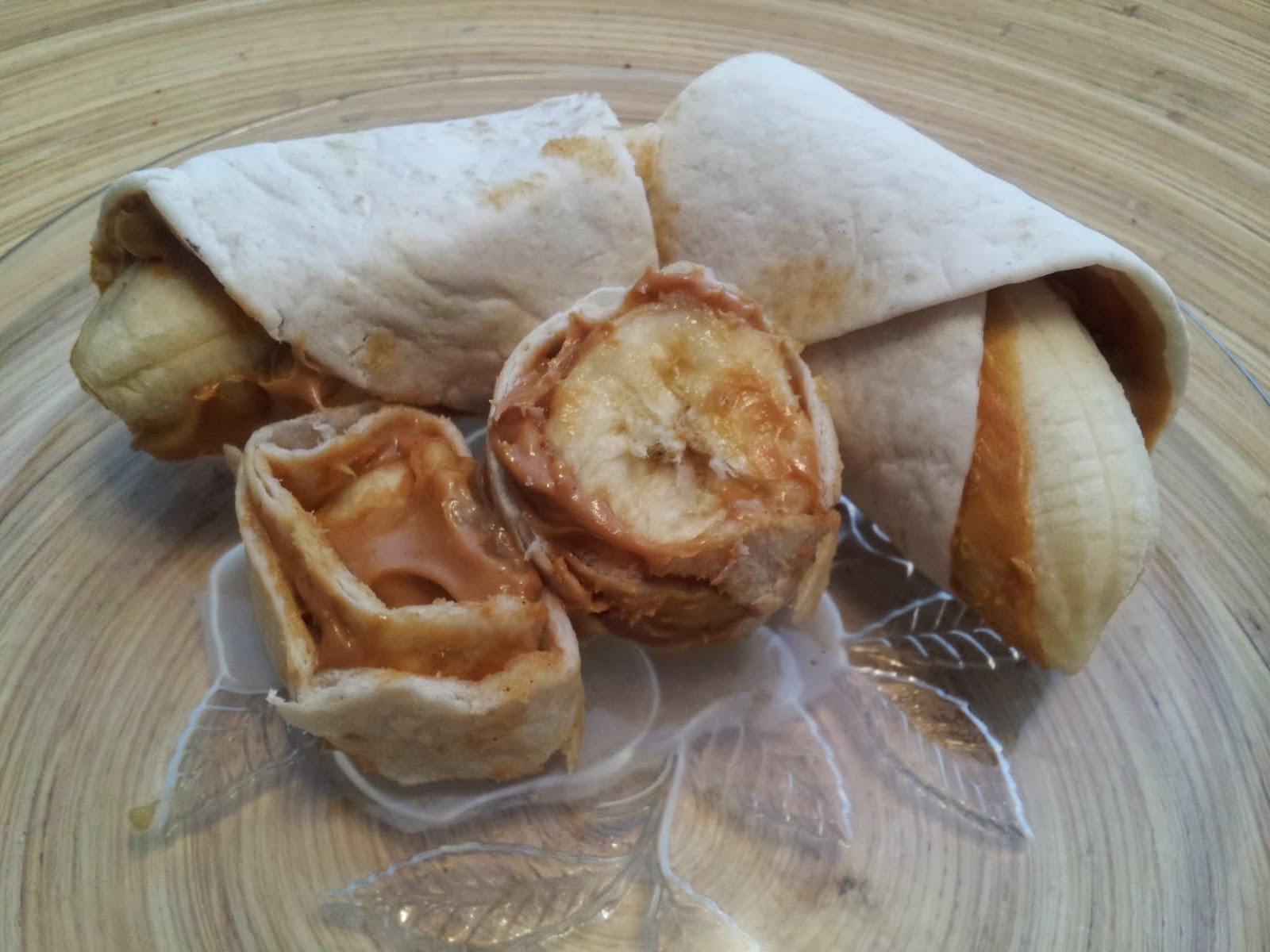 Peanut Butter Banana Wraps, healthy snacks, littletownhomelove.blogspot.ca